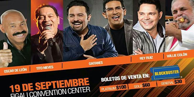 Willie Colón, Oscar de León, Tito Nieves, Rey Ruiz juntos en Panamá
