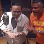 Gilberto Santarosa graba con Rodrigo Mendoza de la Dimensión Latina en Panamá